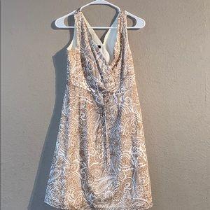 Tan White Land's End Size 6 Midi Dress